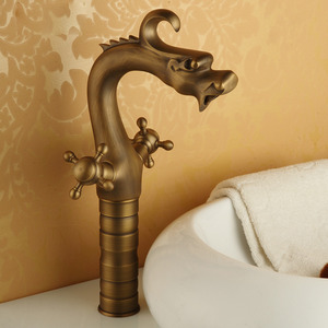 Heightening Antique Brass Brushed Vessel Mount Bathroom Faucets