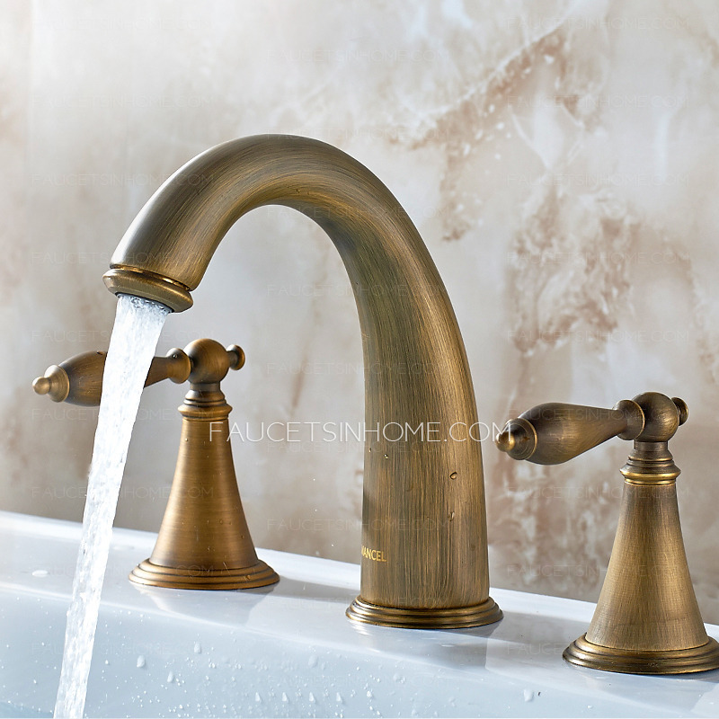 > Bathroom Sink Faucets > Antique Brass Three Holes Brushed Bathroom ...