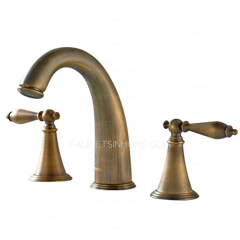 Antique brass three holes brushed bathroom sink faucets Antique brass faucet bathroom