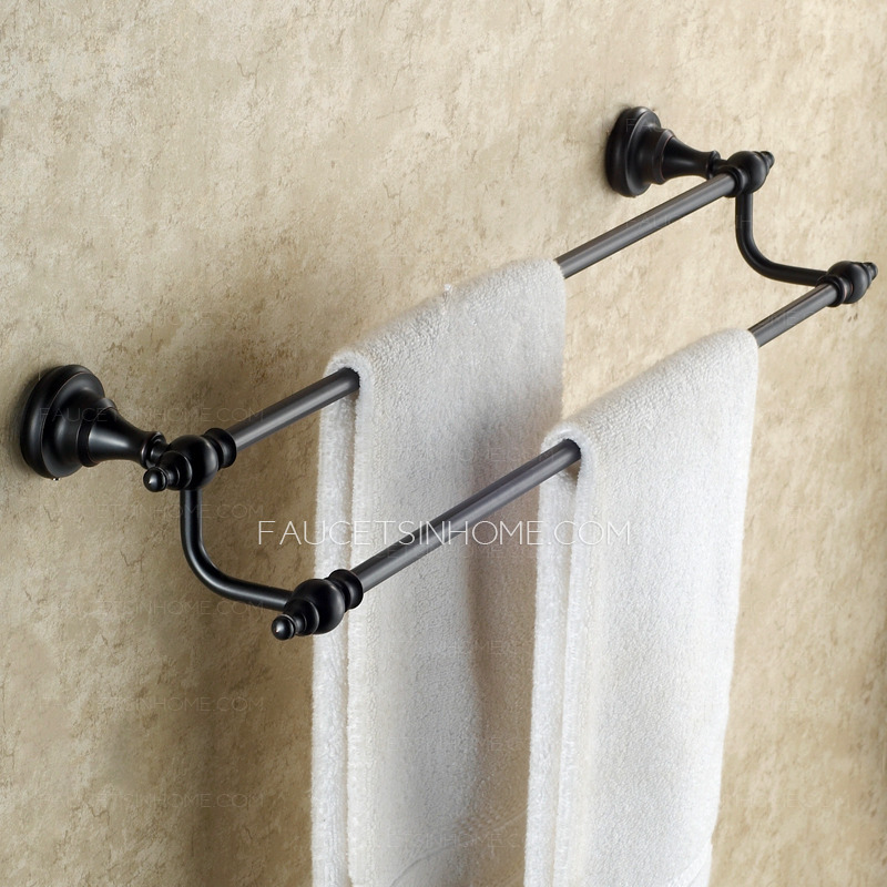 Where To Put Towel Bars In Bathroom: Antique Black Oil Rubbed Bronze Bathroom Double Towel Bars