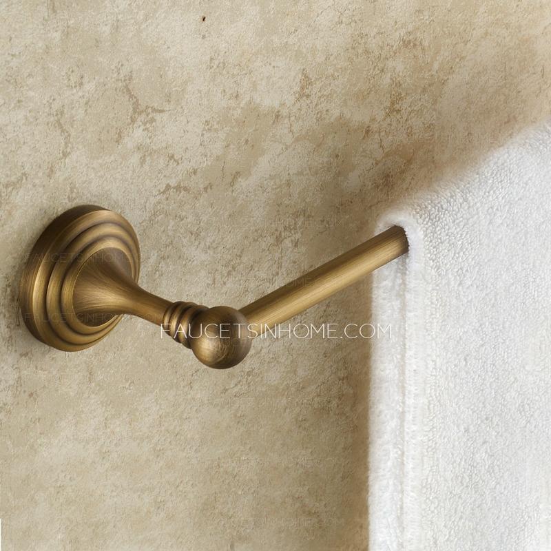Vintage Antique Brass Brushed Single Bathroom Towel Bars