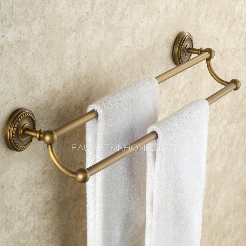 chic antique brass double towel bars for bathroom