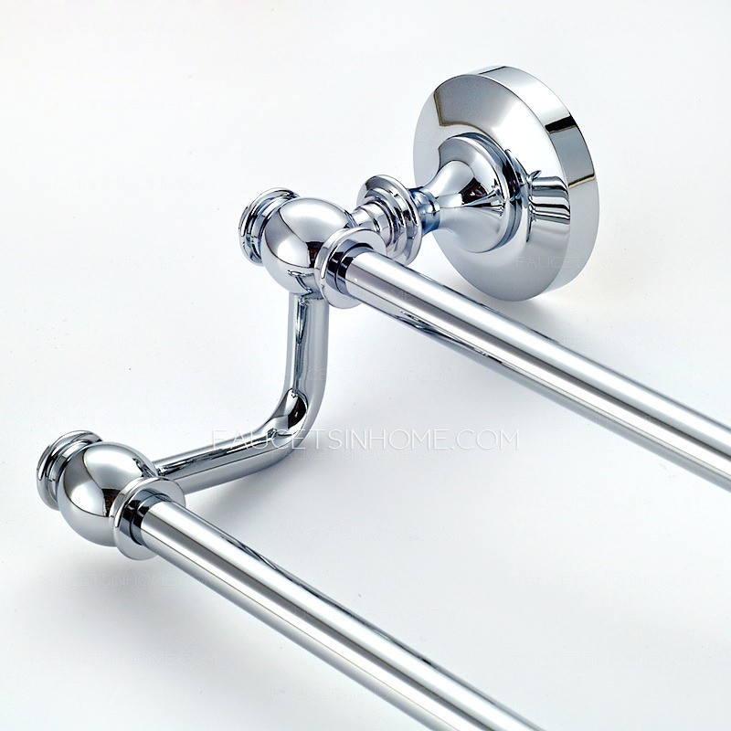 Modern Chrome Bathroom Double Towel Bars Wall Mount