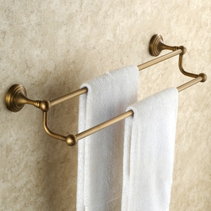 Antique Brass European Style Vintage Double Towel Bars