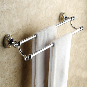Victorian Style Silver Double Towel Bars For Bathroom
