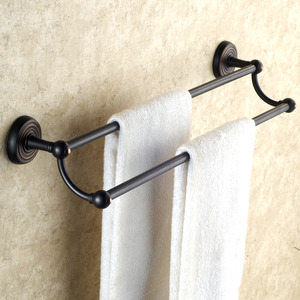 Vintage Oil Rubbed Bronze Black Double Towel Bars For Bathroom