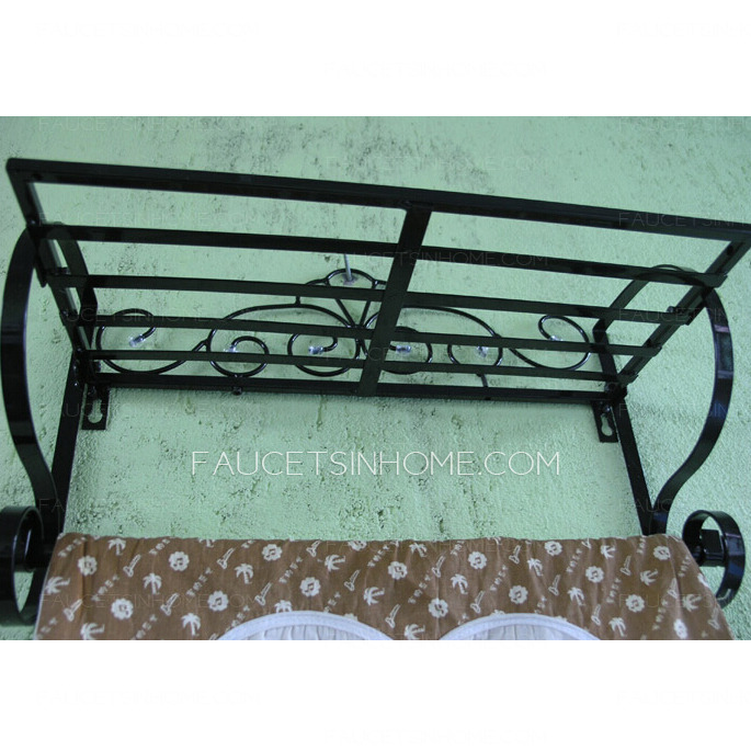 Black Rustic Wrought Iron Bathroom Shelves Hotel Towel Bars