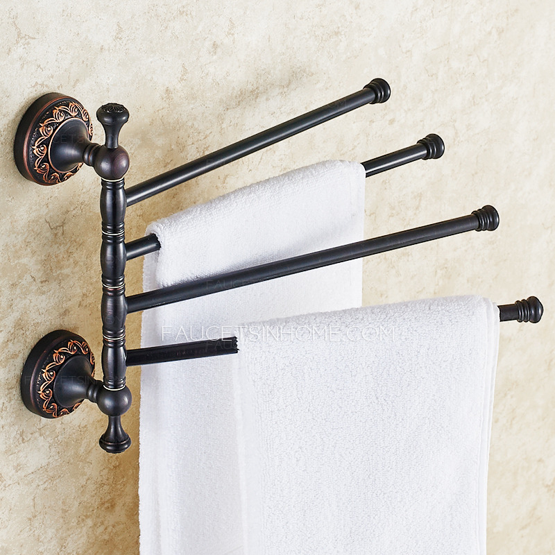 Vintage Black Four Bars Oil Rubbed Bronze Hand Towel Bars Rack