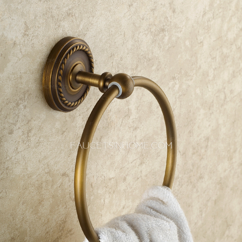 Discount Antique Brass Bathroom Towel Rings Wall Mount
