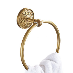 Antique Brass Vintage Carved Bathroom Towel Rings