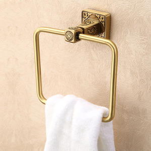 High End Carved Square Shaped Bathroom Towel Rings