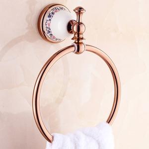Bright Rose Gold Porcelain Bathroom Towel Rings Wall Mount