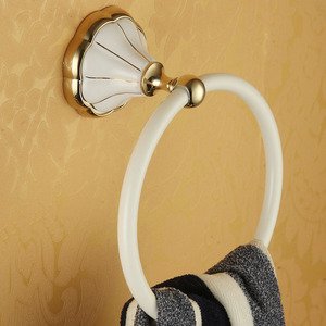 Country Style White Painting Brass Towel Rings For Bathroom