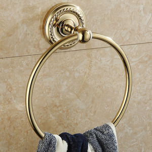 Cheap Polished Brass Carved Base Bathroom Towel Rings