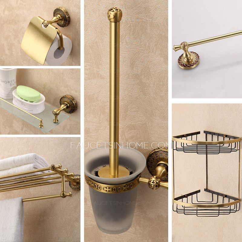 Expensive brass antique 6 sets bathroom accessory set for Vintage bathroom accessories