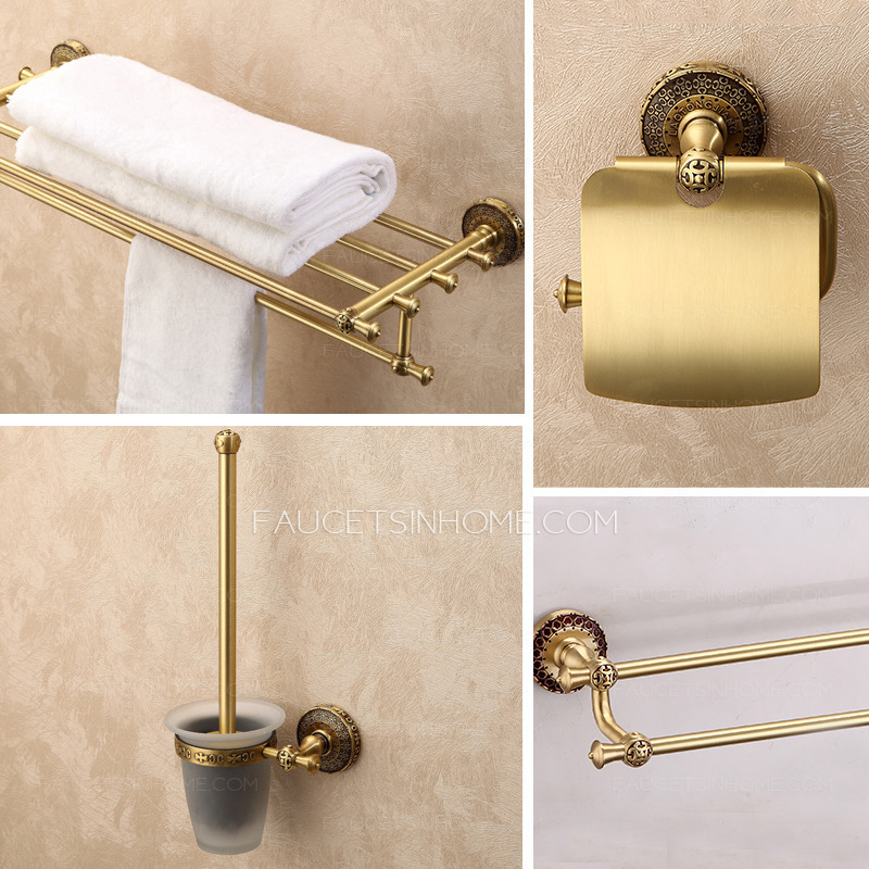High end antique brass carved 4 set bathroom accessory sets for Vintage bathroom accessories