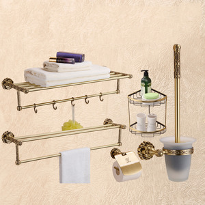Vintage European Brass 5-set Bathroom Accessory Sets With Hooks