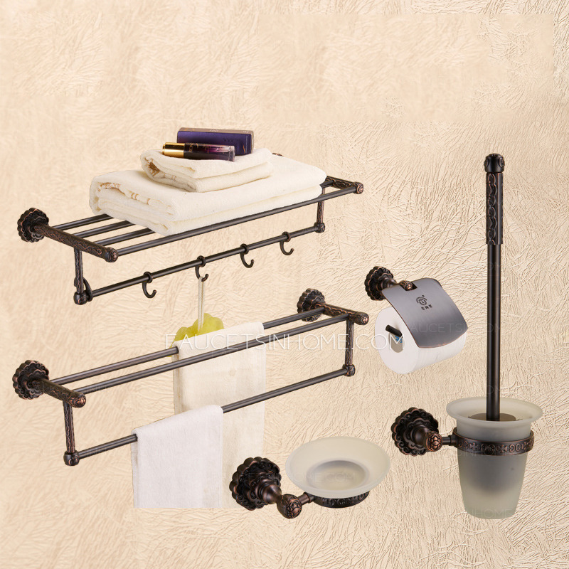 best rubbed bronze 5 set bathroom accessory sets with