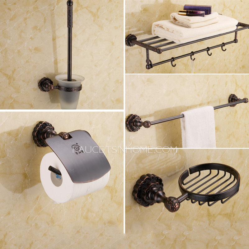 oil rubbed bronze bathroom accessories.  Unique Black 5 piece Oil Rubbed Bronze Bathroom Accessory Sets