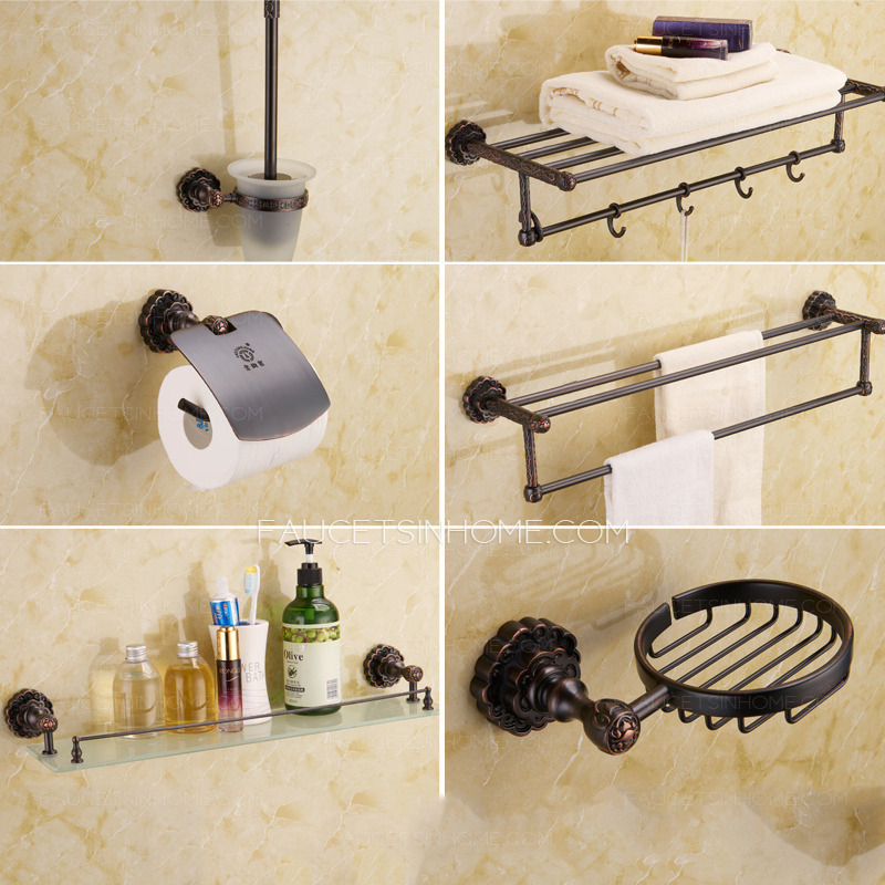 5 piece vintage oil rubbed bronze carved bathroom accessory sets