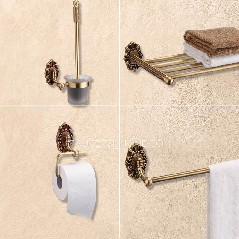 4 Piece Carved Wall Mount Antique Brass Bathroom Accessory Sets