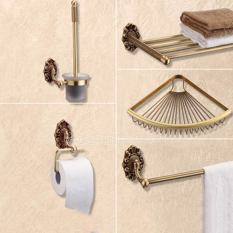 5 piece antique brass wall mounted bathroom accessory sets