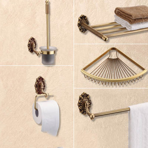 5-Piece Antique Brass Wall Mounted Bathroom Accessory Sets