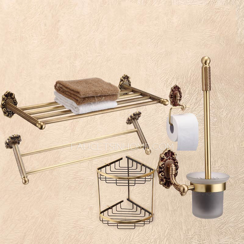 Advanced 5 Piece Antique Brass Bathroom Accessory Sets