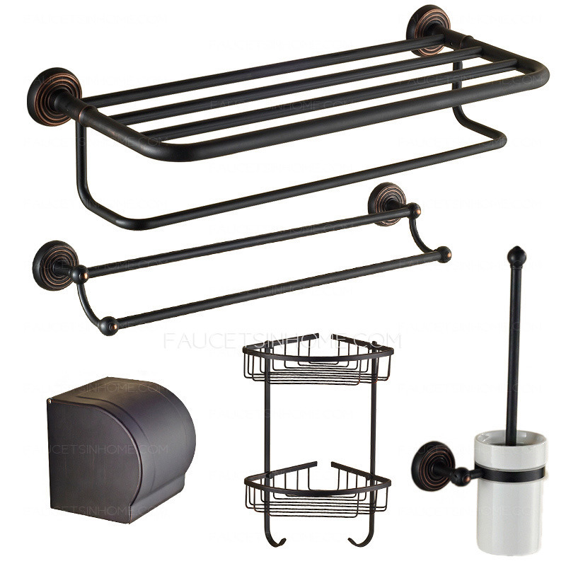 5-piece black brass oil rubbed bronze bathroom accessory sets