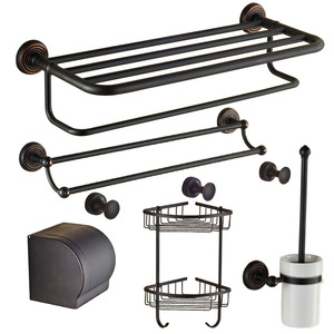 Classical Black 6-Piece Oil Rubbed Bronze Bathroom Accessory Sets