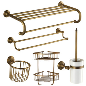 Vintage Antique Brass European Style 5-piece Bathroom Accessory Sets