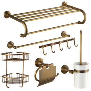 Antique Brass 6-piece European Style Bathroom Accessory Sets