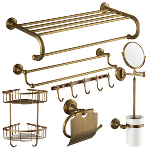7-Piece Antique Brass Carved Bathroom Accessory Sets