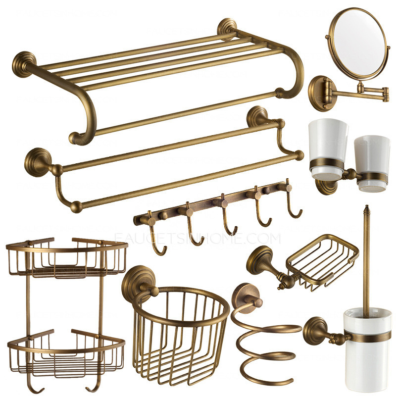10 Piece Antique Brass European Style Bathroom Accessory Sets