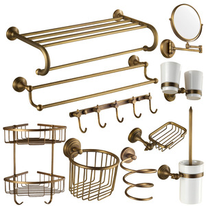 10-piece Antique Brass European Style Bathroom Accessory Sets