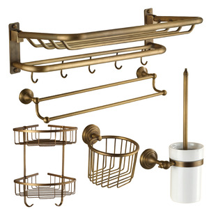 Designer 5-Piece Foldable Antique Brass Bathroom Accessory Sets