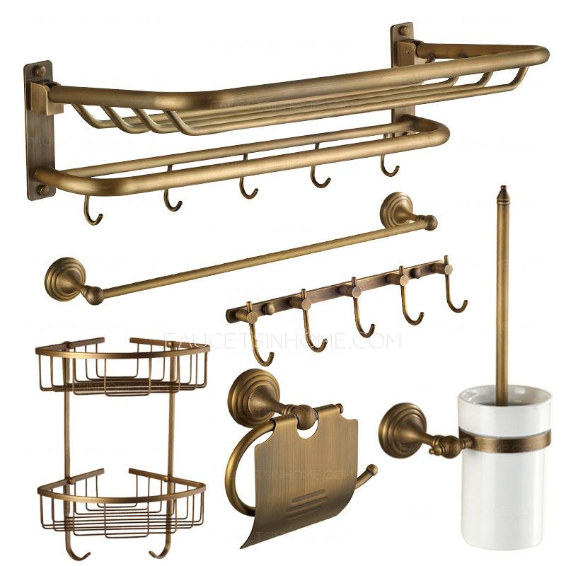 Designer antique brass 6 piece bathroom accessory sets for Unique bathroom accessories sets