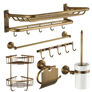 Designer Antique Brass 6-Piece Bathroom Accessory Sets