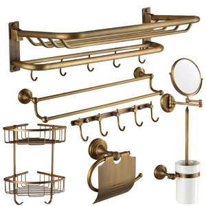7-Piece Flodable Antique Brass Bathroom Accessory Sets