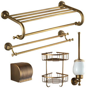 American Style Carved Antique Brass 5-Piece Bathroom Accessory Sets