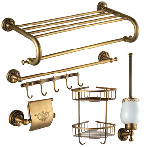 American Style Antique Brass 6-Piece Carved Bathroom Accessory Sets