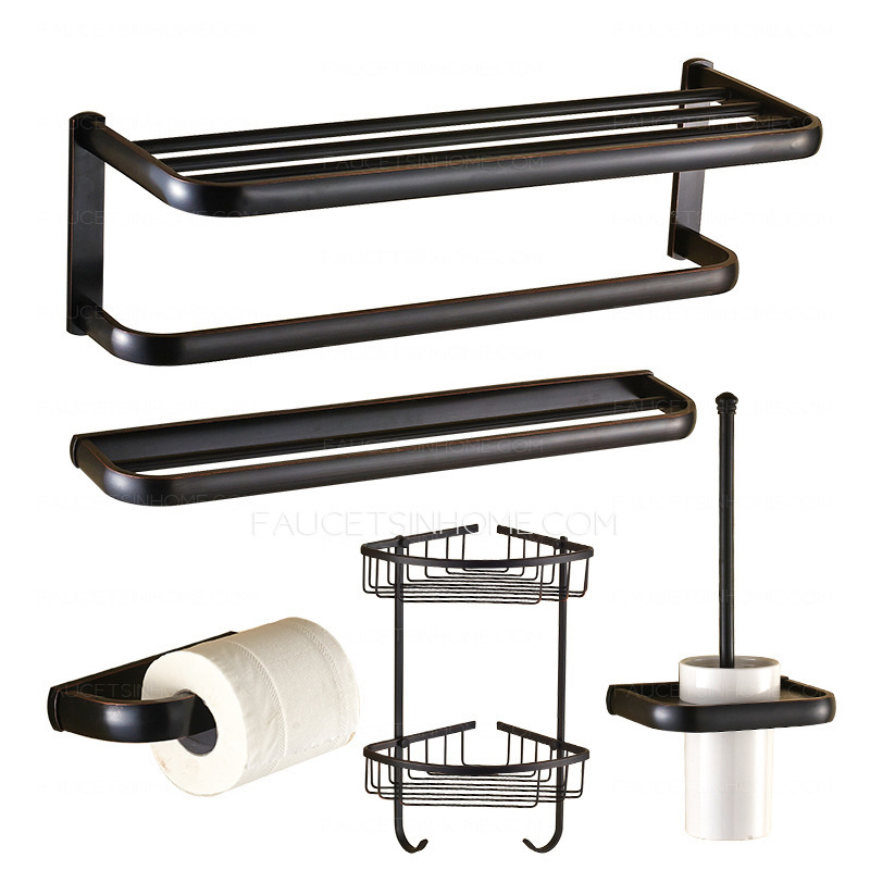 American Country Style Oil Rubbed Bronze 5 Piece Bathroom Accessory Sets
