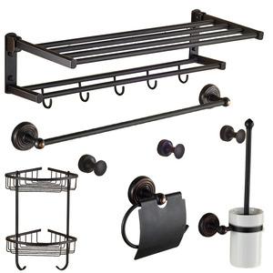 Foldable Black Oil Rubbed Bronze 6-Piece Bathroom Accessory Sets