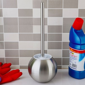 Stainless Steel Ball Shaped Lighthouse Toilet Brush And Holder