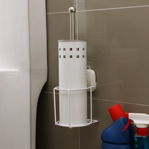 White Suction Wall Mount Stainless Steel Toilet Brush Holder