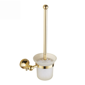 Bright Gold Brass Wall Mounted Toilet Brush With Holder
