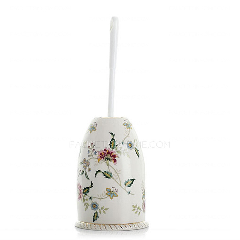 Floral White Ceramic Toilet Brush Holder Freestanding
