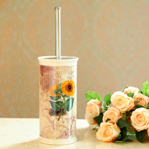 Sunflower Patterned Lighthouse Ceramic Toilet Bowl Brush Holder