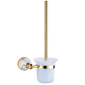Decorative Polished Brass Wall Mounted Toilet Brush & Holder