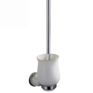 Wall Mounted Silver White Porcelain Toilet Brush Holder